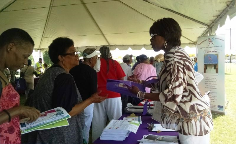 Consumer Outreach Specialist Jean Gross-Bethel at DC Parks and Recreation Senior Fest at Oxon Run Park in Ward 8