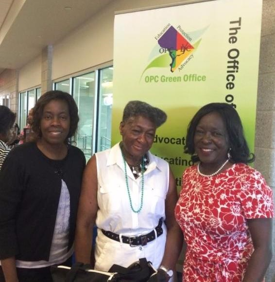 OPC Consumer Outreach Specialist Silvia Garrick and People's Counsel Sandra Mattavous-Frye join a constituent at the Mayor's Annual Senior Symposium
